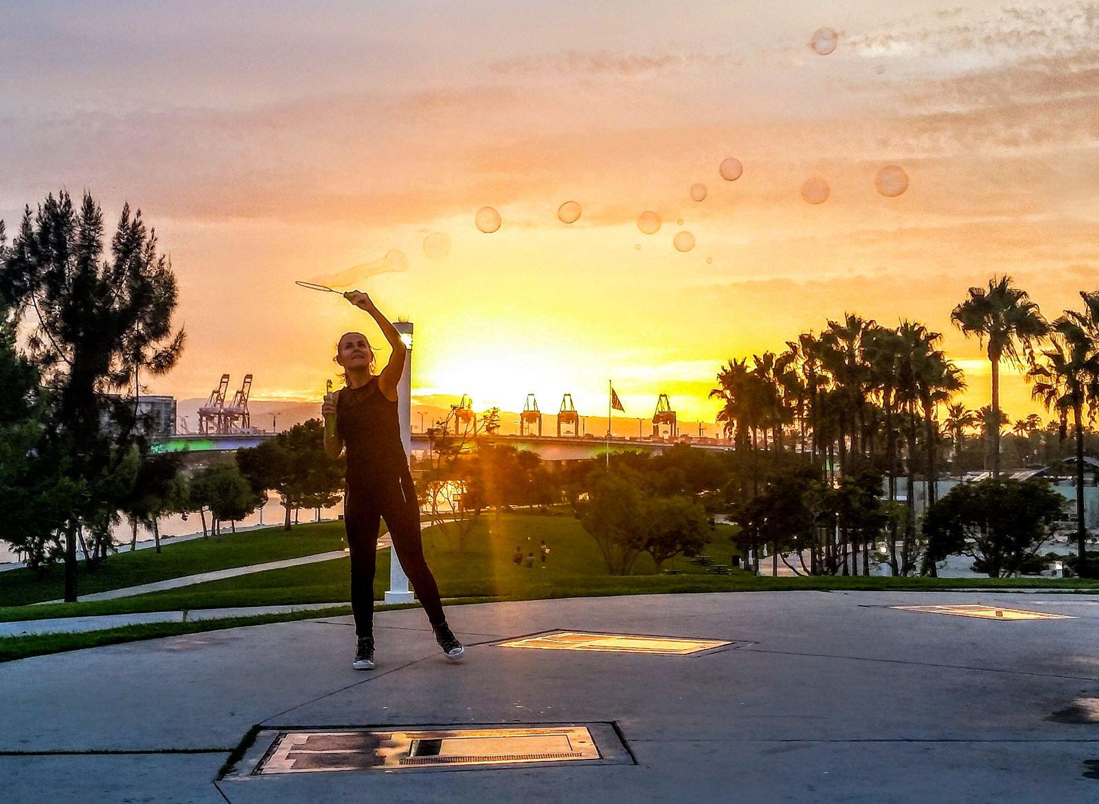 zachód słońca - USA, Long Beach